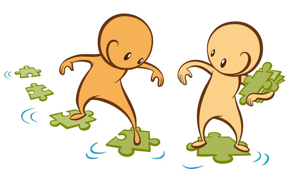 Kuvassa 2 animaatiohahmoa kulkee yhdessä pitkin palapelin palojen muodostamaa polkua